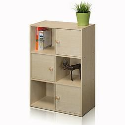 Furinno 11189 Pasir 3-Tier Shelf with 3 Doors with Round Han