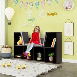 1pc Kid Storage Bookcase 6 Cubby Cushioned Reading Nook for