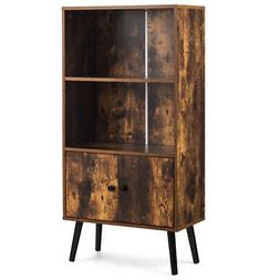 2-Tier Retro Bookcase Bookshelf w/3 Compartment&2 Doors Indu