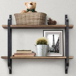 2 Tier Vintage Wood Floating Shelves Display Storage Ledge W