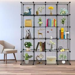 20 Cubes Wire Grid Organizer Bookcase Storage Shelf Cabinet