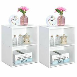 2PCS 2 Tier Open Shelf Night Stand End Table Sofa Side Stora