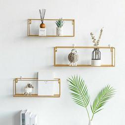 3 Cubes Wall Shelves Storage gold metal Decor Display Shelf
