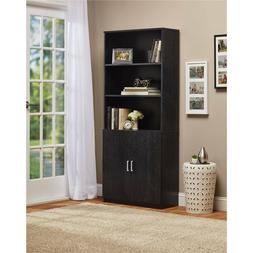 3 Shelf Bookcase Adjustable Shelves Doors Storage Cabinet Fu