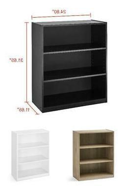 3 Shelf Wood Bookcase Book Shelves 31 Inch Storage Rack Disp