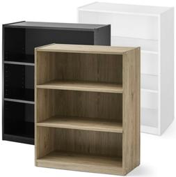 3-Shelf Wood Bookcase, Wide Storage Book Display Bookshelf A