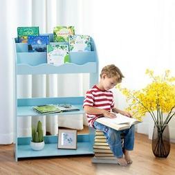 3-Tier Children Bookshelf Magazine Ample Storage Bookcase Fo