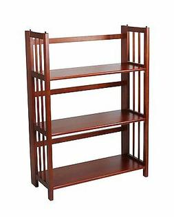 """Casual Home 3 Tier Folding Stackable Bookcase 27.5"""" Wide Mah"""