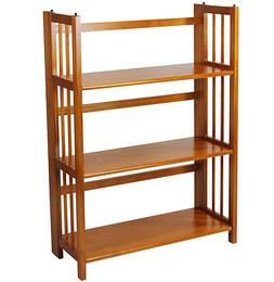 """Casual Home 3 Tier Folding Stackable Bookcase 27.5"""" Wide Hon"""