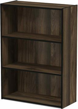 3-Tier Open Shelf Bookcase, Columbia Walnut