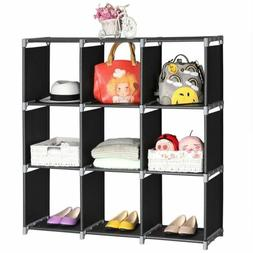 3 Tiers 9 Cube Bookcase Bookshelf Storage Display Shelf Furn