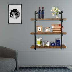 3 Tiers Iron Pipe Shelf Wall Mount Industrial Shelving Books