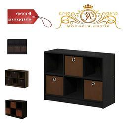 3x2 Bookcase Storage with Bins Stylish Organizer Hold Small