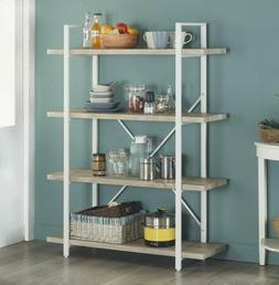 4 shelf modern style bookshelf light oak