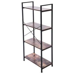 4-Shelf Vintage Industrial Bookcase,Wood and Metal Open Book