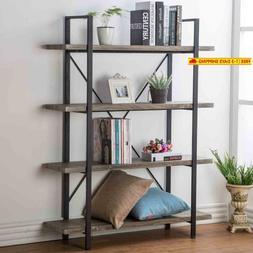 Hsh Furniture 4-Shelf Vintage Industrial Bookshelf, Rustic W