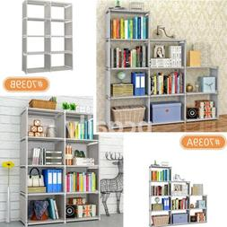 4 Tier 8/9-Shelf Bookcase Storage Shelving Book Wide Bookshe