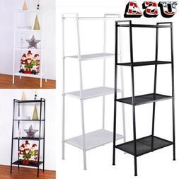 4-Tier Bookcase Metal Bookshelf Leaning Ladder Shelf Storage