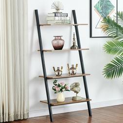 Foldable 4-Tier Ladder Bookcase Storage Rack Bookshelf Plant