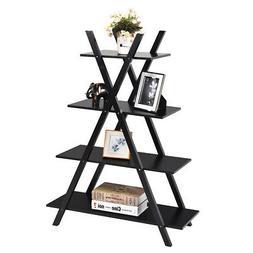 4-Tier Bookshelf Storage Display Shelves Bookcase Ladder  X-