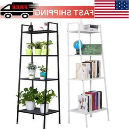 4-Tier Durable Bookcases Leaning Wall Book Shelf Shelving La