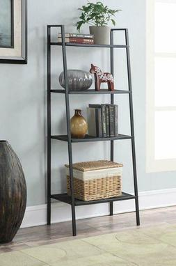 4 Tier Heavy Duty Metal Leaning Ladder Shelf Bookcase Booksh