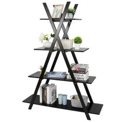 A Frame Bookcase Bookshelf 4 Tier Ladder Shelf Storage Displ