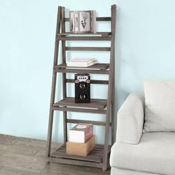 4-Tier Ladder Shelf Bookshelf Bookcase Storage Display Home