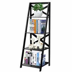 4-Tier Ladder Shelf Bookshelf Bookcase Storage Display Leani