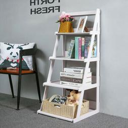 4 Tier Ladder Shelf Wood-plastic Bookcase Stand Plant Storag