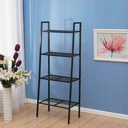 4 Tier Leaning Ladder Shelf Bookcase Bookshelf Storage Shelv