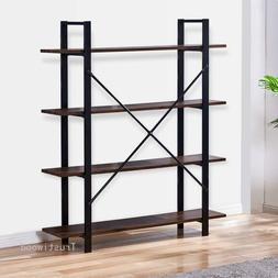 4-Tier Rustic Bookcase Industrial Bookshelf Grain Wood and M