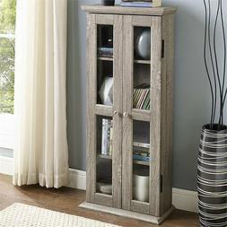 "41"" Media Cabinet Driftwood Finish Adjustable Shelves Safety"