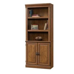 Sauder 418734 Library with Doors Bookcase, Milled Cherry