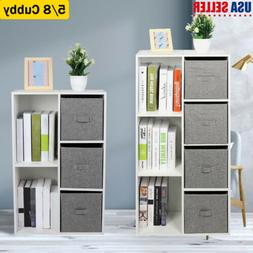 5/7 Cube Organizer Wood Storage Shelves Drawer Bookcase Book
