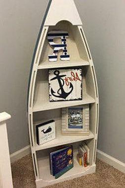 5 foot blue row Bookshelf Bookcase shelves skiff schooner ca