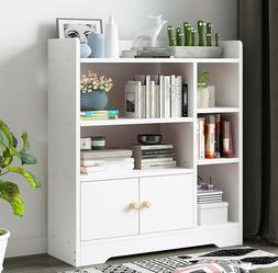 Floor Shelf Wood Bookcase Storage Shelves Organizer Book Cas