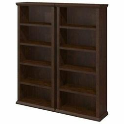 Pemberly Row 5 Shelf Bookcases in Antique Cherry