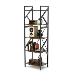 5-Shelf Bookshelf Vintage Industrial Rustic Rack 5-Tier Meta