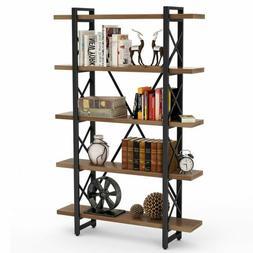 5 shelf industrial bookshelf and bookcase rustic