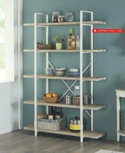 Homissue 5-Shelf Modern Style Bookshelf, Light Oak Shelves A