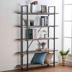 HSH Furniture 5-Shelf Vintage Industrial Rustic Bookshelf, W