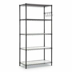 "Alera 5-Shelf Wire Shelving Kit, 36"" x 18"" x 72"", Blk Anthra"