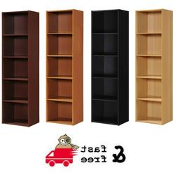 5-Shelf Wooden Slim Bookshelf Furniture Bookcase Storage She