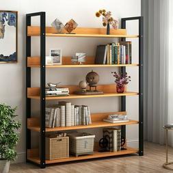 5 Tier Bookcase Bookshelf Leaning Wall Shelf Ladder Storage