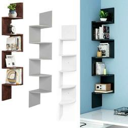 5 Tier Corner Shelf Bookshelf Floating Wall Shelves Storage