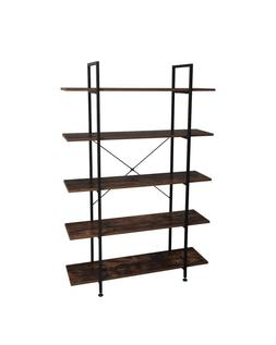 5-Tier Industrial Bookcase and Book Shelves, Vintage Wood an