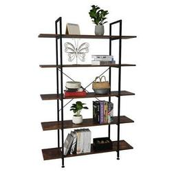5-Tier Industrial Bookcase and Book Shelves Vintage Wood and