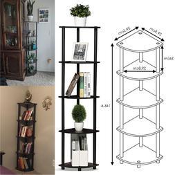 5 Tier Living Room Corner Shelf Wood Display Storage Rack Bo