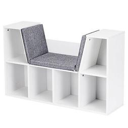 6 Cubby Kids Bookcase w/ Cushioned Seat Storage Cabinet Shel